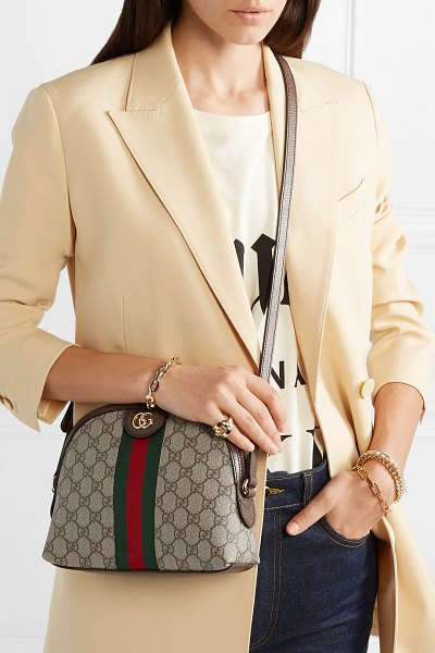 Gucci ophidia textured leather-trimmed printed coated-canvas shoulder bag in beige - Gucci proves once again that its bags gain cult status...