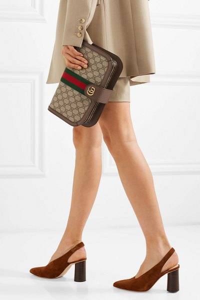 Gucci ophidia textured leather-trimmed printed coated-canvas shoulder bag in brown