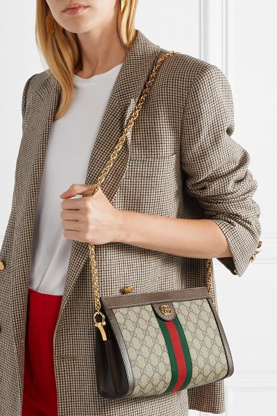 Gucci ophidia textured leather-trimmed printed coated-canvas shoulder bag in beige