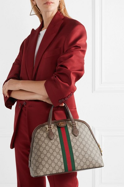Gucci ophidia textured leather-trimmed printed coated-canvas tote in beige