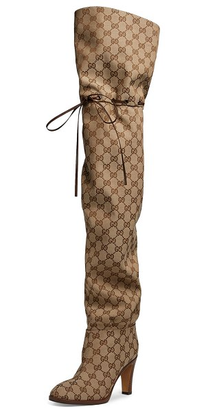 Gucci Lisa 95mm Over The Knee GG Fabric Boot in beige - Gucci over-the-knee boot in Original GG canvas with...