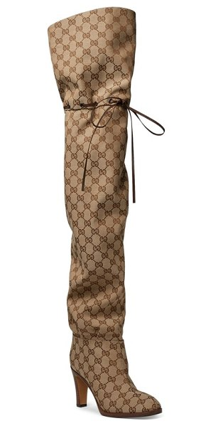 Gucci original gg canvas over the knee boot in beige