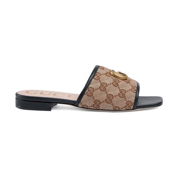Gucci original gg canvas slides with double g in beige