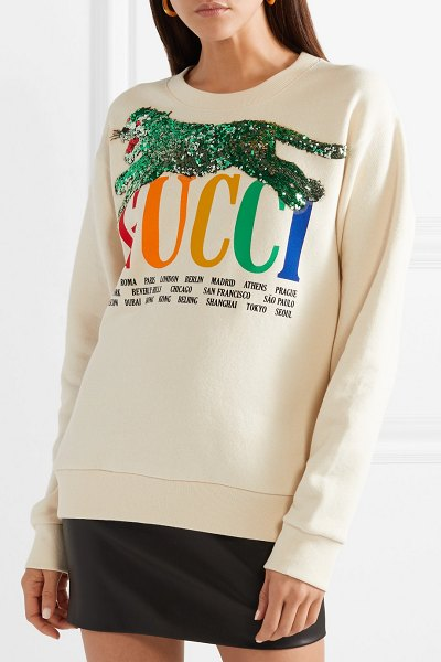 Gucci oversized embellished printed cotton-terry sweatshirt in ecru - The names of the cities you see scrawled across Gucci's...