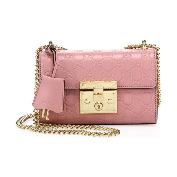Gucci padlock gg small leather shoulder bag in pink