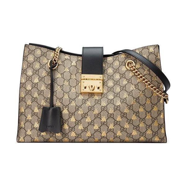 GUCCI Padlock GG Supreme Canvas Bees Medium Shoulder Tote Bag - Gucci shoulder bag in GG Supreme canvas with gold bees...