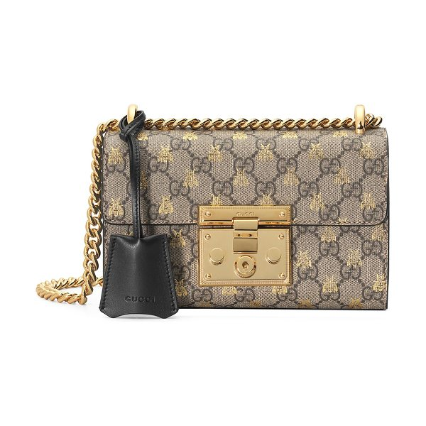 Gucci Padlock Small GG Supreme Bees Shoulder Bag in black/brown - Gucci shoulder bag in GG Supreme canvas with gold bees...