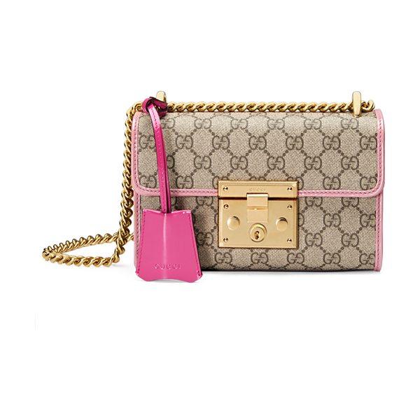 Gucci Padlock Small GG Supreme Shoulder Bag in gg w/ pink trim - Gucci beige/ebony GG supreme canvas shoulder bag with...