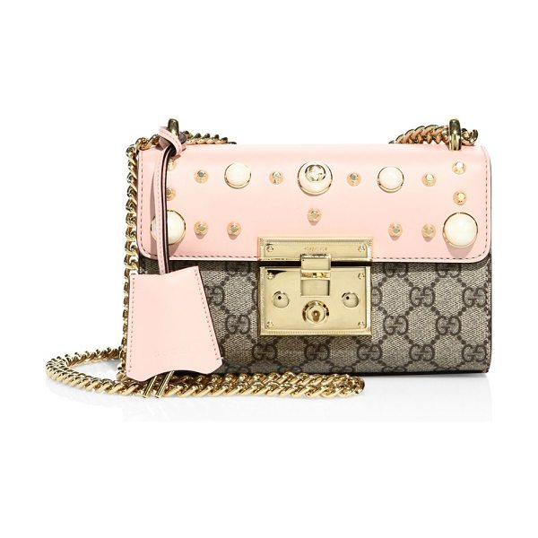 GUCCI padlock studded leather shoulder bag - EXCLUSIVELY AT SAKS FIFTH AVENUE. Sliding chain strap,...