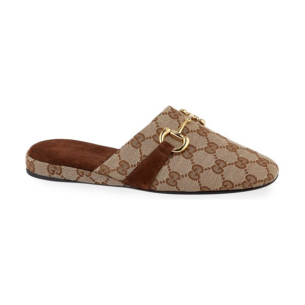 Gucci Pericle GG Canvas Horsebit Mules in brown pattern