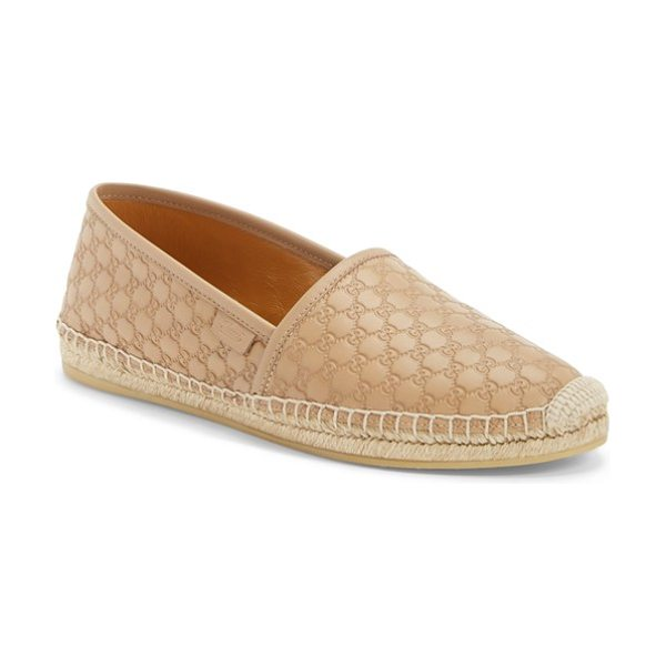 Gucci pilar espadrille flat in nude leather - Guccissima leather is instantly recognizable on this...
