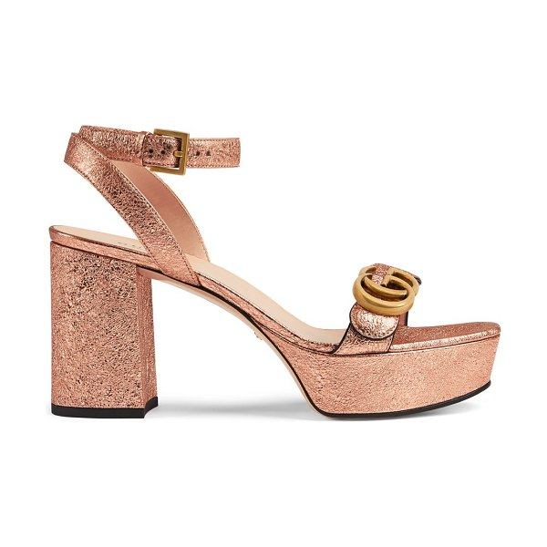 Gucci platform sandals with double g in salmone