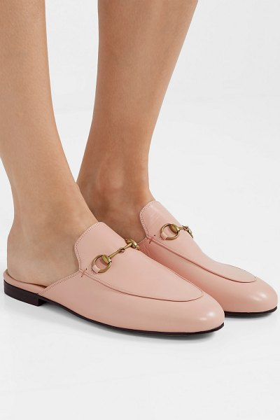 Gucci princetown horsebit-detailed leather slippers in blush