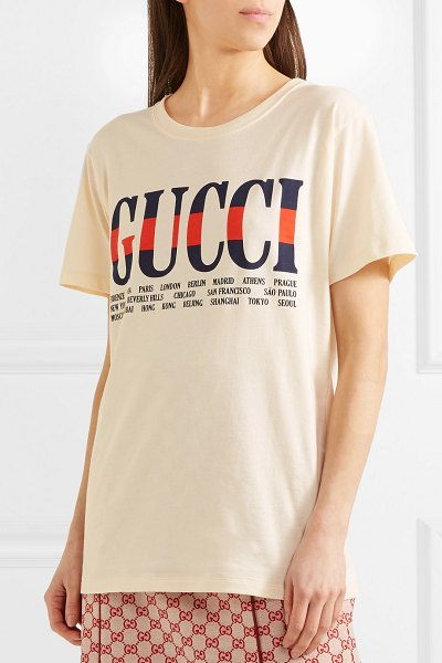 Gucci printed cotton-jersey t-shirt in cream - Firenze, Roma, Paris, London. the list of cities on...