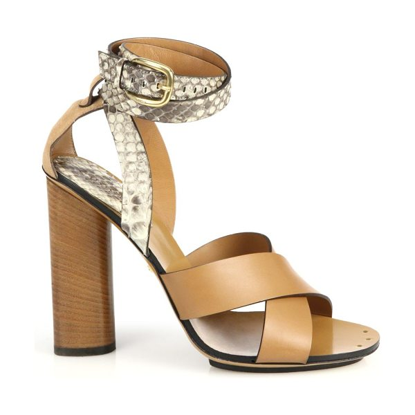Gucci Python & leather stacked-heel sandals in tan