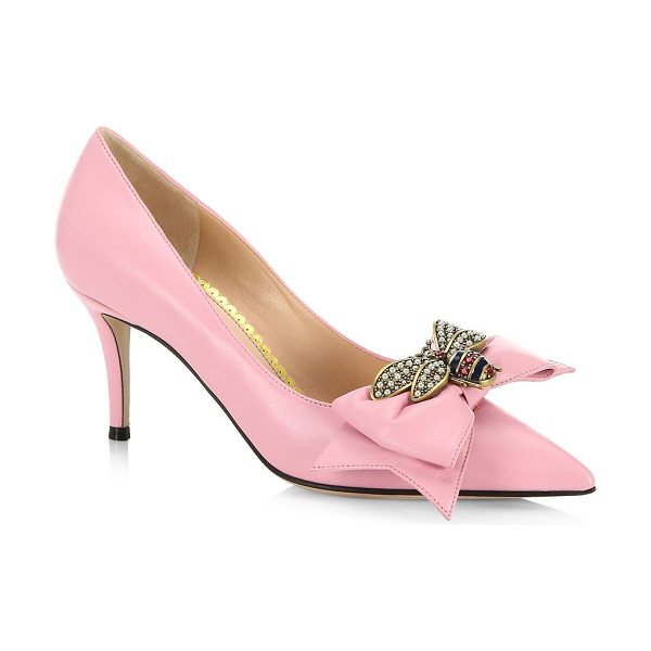 Gucci leather mid-heel pumps with bow in pink