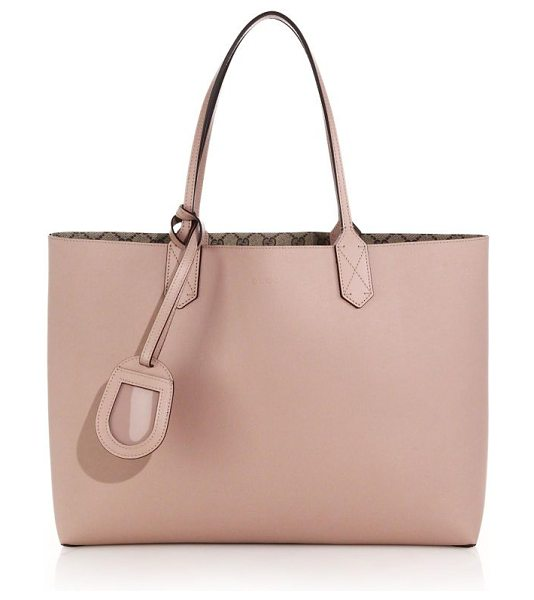 Gucci Reversible gg medium leather tote in pink-beige - One side is solid leather, reversible side is GG...