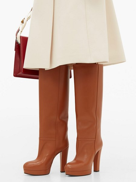 Gucci round toe knee high leather boots in tan
