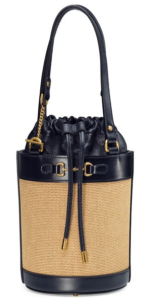 Gucci small 1955 horsebit canvas & leather bucket bag in beige