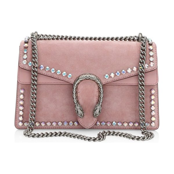 28e898ed7a3 Gucci small dionysus crystal-embellished suede chain shoulder bag in pink -  Elegant chain shoulder