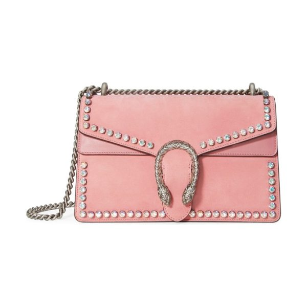 Gucci small dionysus crystal embellished suede shoulder bag in pink - Glinting crystals highlight the peony-pink suede...