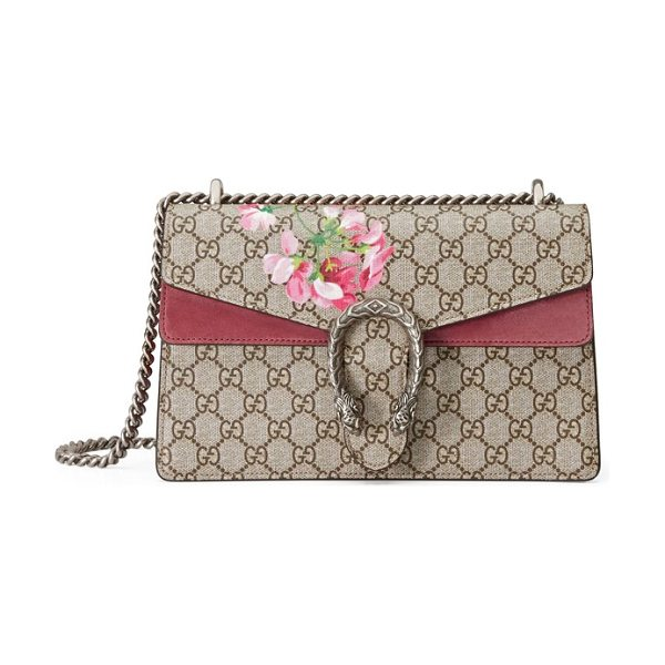 Gucci small dionysus floral gg supreme canvas shoulder bag in beige ebony/ dry rose - Antiqued-rose suede details, lush painted blossoms and a...