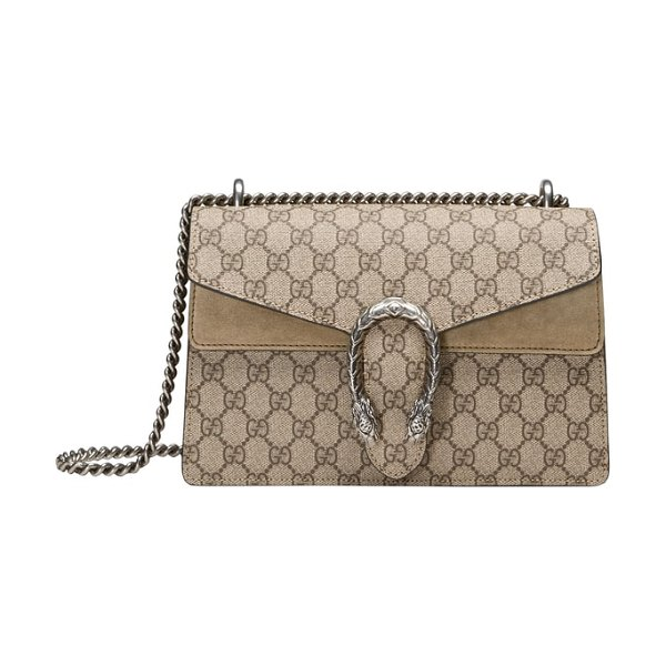 Gucci small dionysus gg supreme canvas & suede shoulder bag in beige - Plush suede details beautifully tie together Gucci's GG...