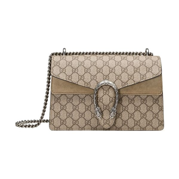 Gucci small dionysus gg supreme canvas & suede shoulder bag in beige ebony/taupe
