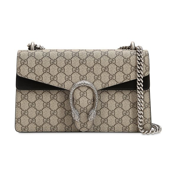 Gucci Small dionysus gg supreme shoulder bag in taupe/black - Height: 17cm Width: 28cm Depth: 9cm . Metal chain...
