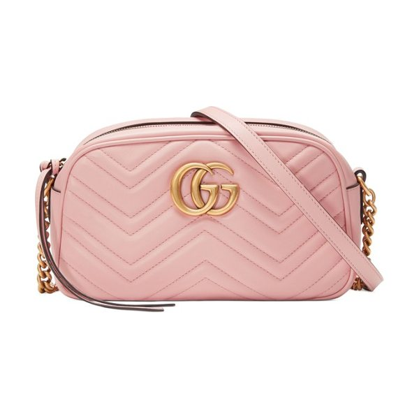 5fb3eb1092986f Gucci small gg marmont 2.0 matelasse leather camera bag in pink - Signature  chevron quilting highlights