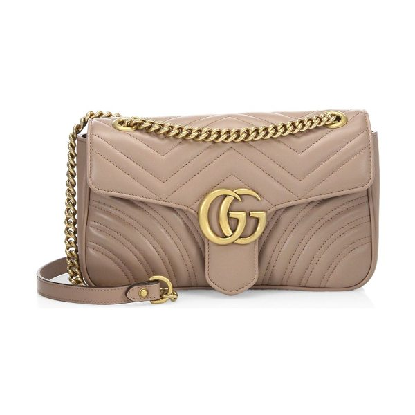 "GUCCI small gg marmont matelasse leather chain shoulder bag in soft rose - Sliding chain shoulder strap, 12"" or 22"" drop. Flap with..."