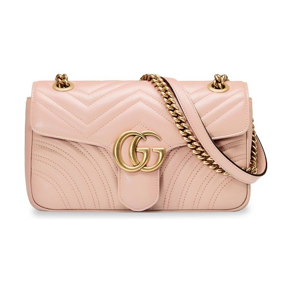 "Gucci small marmont matelasse leather shoulder bag in pink - Top handle, 12"" drop. Sliding chain strap can be worn as..."