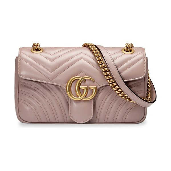 Gucci gg marmont small matelasse leather shoulder bag in rose