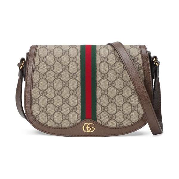 Gucci small ophidia gg supreme canvas shoulder bag in beige