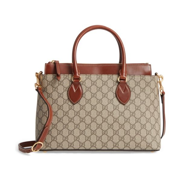 Gucci small top handle gg supreme canvas & leather tote in beige ebony/ cuir - Rich leather detailing at the elevated topline and...