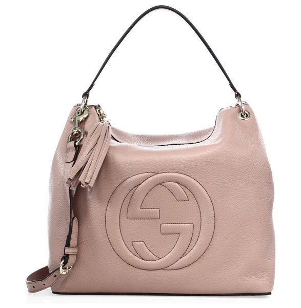 "Gucci Soho large hobo bag in cipria - Double top handles, 7"" dropRemovable adjustable shoulder..."