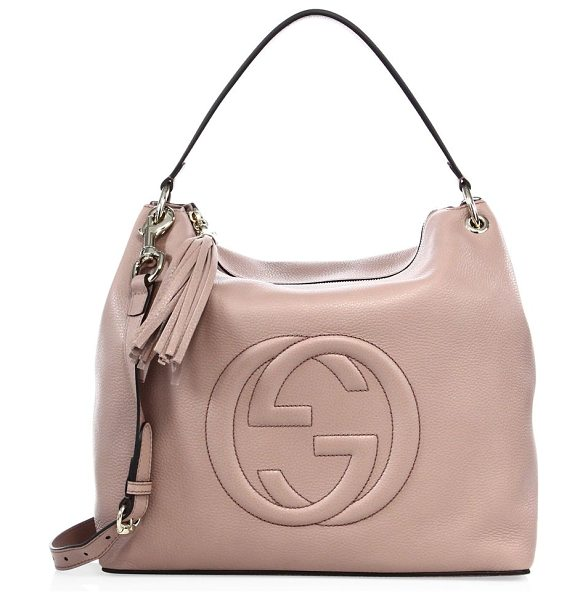 "Gucci soho large hobo bag in cipria - Double top handles, 7"" drop. Removable adjustable..."