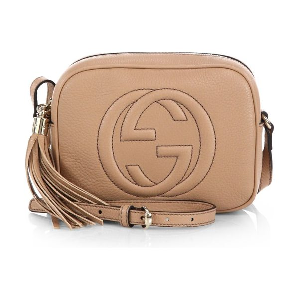 """Gucci soho leather disco bag in camelia - Leather. Natural cotton linen lining. Small size: 8""""W X..."""