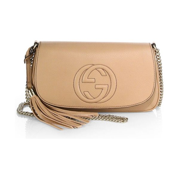 "Gucci Soho leather shoulder bag in petalpink - Chain shoulder strap, 21"" dropMagnetic snap-flap..."