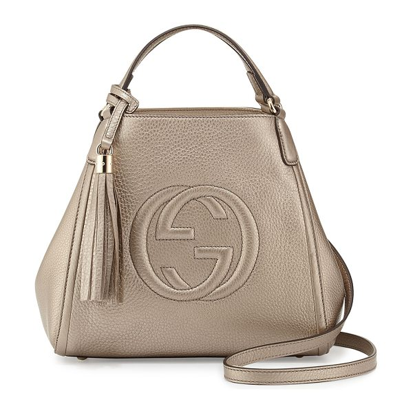 GUCCI Soho leather shoulder bag in gold - Gucci metallic leather shoulder bag. Light fine golden...