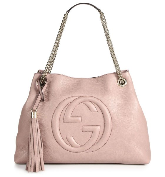 "Gucci soho medium leather shoulder bag in cipria - Double chain shoulder straps with leather pad, 7"" drop...."