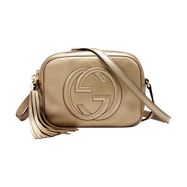 GUCCI Soho Metallic Leather Disco Bag in gold - Gucci metallic leather disco bag with embossed...