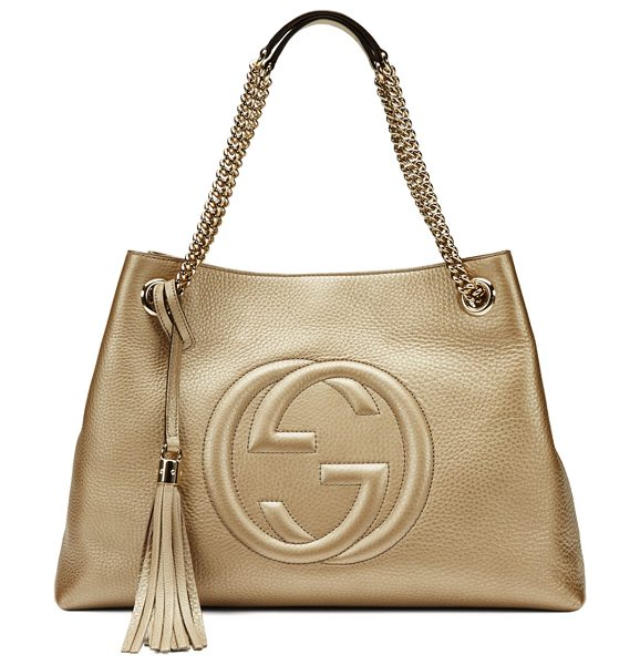 Gucci Soho Metallic Leather Tote Bag in golden beige - Gucci Soho tote in metallic leather. Light fine golden...