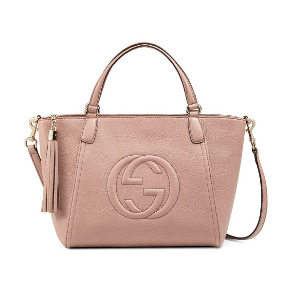 "Gucci Soho small crossbody tote in dark cipria rose - Gucci leather tote with embossed interlocking ""G""..."