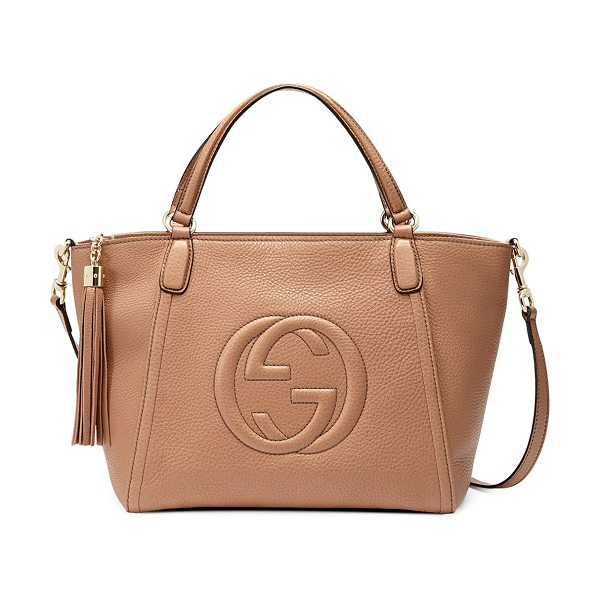 "GUCCI Soho small crossbody tote - Gucci leather tote with embossed interlocking ""G""..."