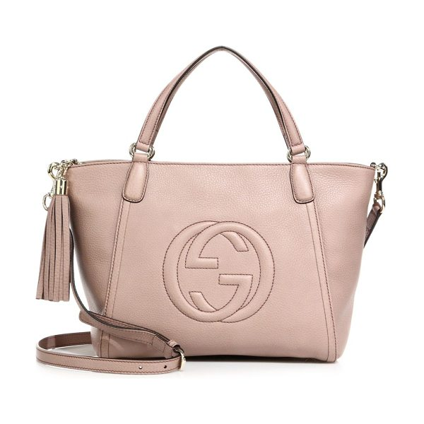 """GUCCI soho small leather top handle bag in cipria - Double top handles, 5"""" drop. Removable, adjustable..."""
