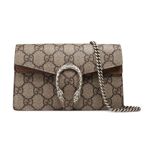Gucci super mini dionysus gg supreme canvas & suede shoulder bag in beige ebony taupe - A palladium-toned tiger-head spur and suede-trimmed GG...