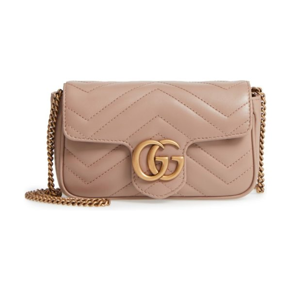 Gucci supermini gg marmont 2.0 matelasse leather shoulder bag in porcelain rose - Double G logos inspired by a '70s-era design found in...
