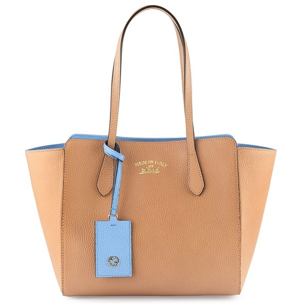 Gucci Swing small tote bag in beige/blue - Gucci leather tote bag with contrasting interior color...