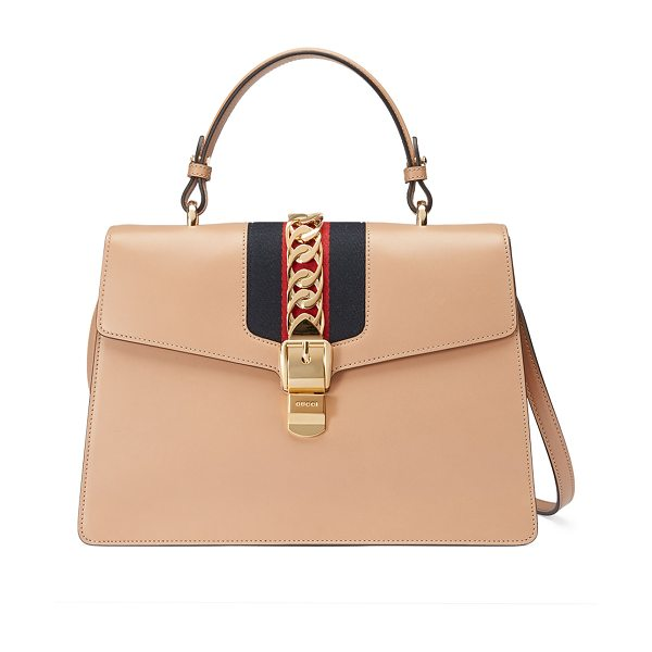 Gucci Sylvie Leather Top-Handle Satchel Bag in camel - Gucci smooth leather satchel bag with signature web...
